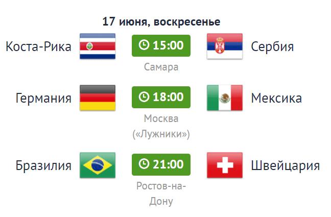 расписание матчей по футболу на 17 июня