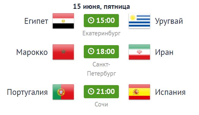 расписание матчей на чемпионате по футболу на 15 июня